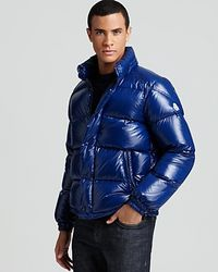 Moncler - Blue Shiny Ever Bomber Jacket for Men - Lyst