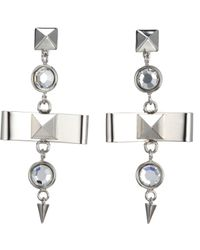 Fallon - Metallic Bow Drop Earrings - Lyst