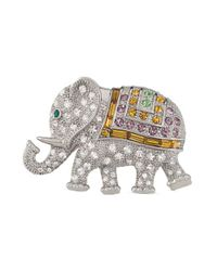 Carolee | Metallic Silvertone Glass 40th Anniversary Elephant Pin | Lyst