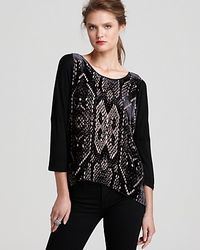 Rebecca Taylor - Black Top Burnout Slouchy with Dolman Sleeves - Lyst