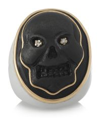 Amedeo - White Lava Agate and Diamond Skull Cameo Ring - Lyst
