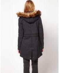 Hilfiger Denim - Black Parka with Detachable Hood and Faux Fur - Lyst