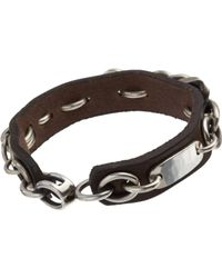Werkstatt:münchen - Metallic Leather Bracelet with Silver Chain Overlay for Men - Lyst