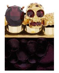 Alexander McQueen   Purple Knuckle Embellished Brocade Box Clutch   Lyst