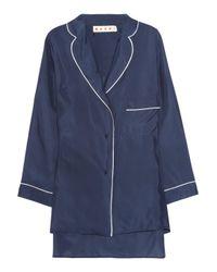 Marni   Blue Silk Pajama Shirt   Lyst