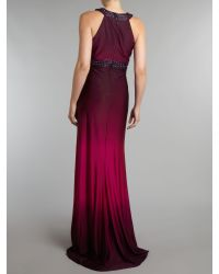 JS Collections | Purple Ombre Jersey Dress with Beaded Neck | Lyst