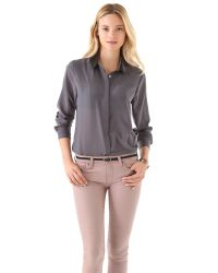 Pjk Patterson J. Kincaid Gray Mollow Sequined Blouse