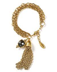 T Tahari | Metallic On The Edge Gold Multichain Tassel Bracelet | Lyst