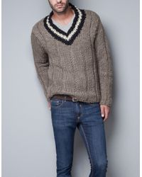 Zara | Natural Chunky Sweater for Men | Lyst