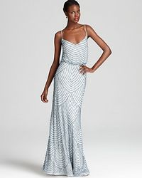 Adrianna Papell   Blue Beaded Gown Sleeveless Blouson   Lyst