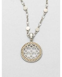 John Hardy | Metallic Sterling Silver 18k Gold Dot Pendant Necklace | Lyst