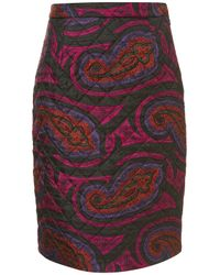 Topshop | Red Quilted Paisley Silk Skirt  | Lyst