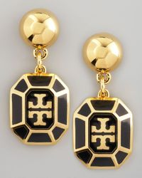 Tory Burch | Black Rylan Logo Drop Earrings | Lyst