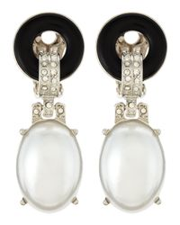 Kenneth Jay Lane | Metallic Pearly Drop Clipon Earrings | Lyst