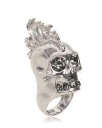 Alexander McQueen - Metallic Punk Skull with Swarovski Ring - Lyst