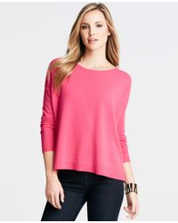 Ann Taylor - Pink Cashmere Boatneck Sweater - Lyst