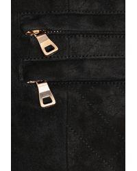 Balmain | Black Suede Midi Skirt | Lyst