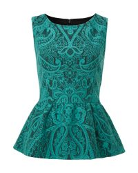 Therapy | Blue Bonded Lace Peplum Top | Lyst
