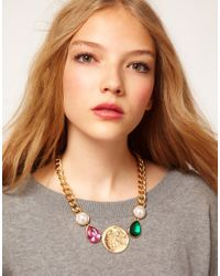 ASOS - Multicolor Jewel Coin Necklace - Lyst