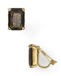 Lauren by Ralph Lauren - Gray Emerald Cut Clip Earrings - Lyst