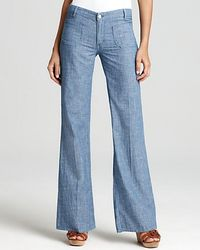 M.i.h Jeans | Blue Pants Miramar Patch Pocket Wide Leg Chambray Pants | Lyst