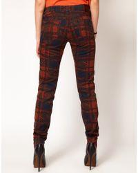 Vivienne Westwood Anglomania For Lee Brown Skinny Jeans in Printed Tartan Print