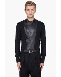 Saint Laurent | Black Leather Trim Cashmere Sweater for Men | Lyst
