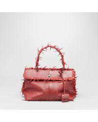 Bottega Veneta - Red Blood Antique Lizard Fuzzy Tiina Bag - Lyst
