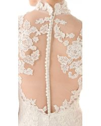 Marchesa White Lace Gown with Illusion Neckline