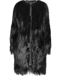 Mulberry | Black Mongolian Goat Hair and Leather Coat | Lyst
