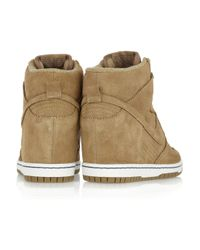 Nike | Brown Dunk Sky Hi Suede Wedge Sneakers | Lyst