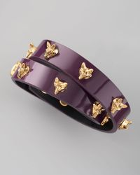 Tory Burch | Purple Fox Studded Wrap Bracelet | Lyst