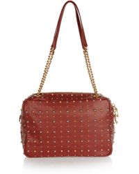 Miu Miu | Brown Studded Leather Shoulder Bag | Lyst