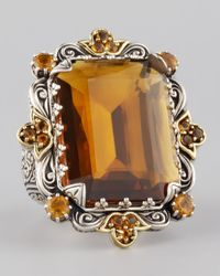 Konstantino | Brown Emeraldcut Cognac Citrine Cocktail Ring | Lyst