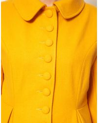 ASOS - Yellow Button Swing Coat - Lyst