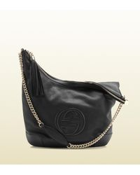 f52d9dab453 Lyst - Gucci Soho Black Leather Shoulder Bag with Chain Strap in Black