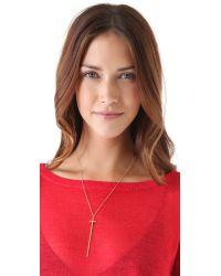 Jennifer Zeuner - Metallic Long Diamond Cross Necklace - Gold - Lyst
