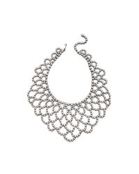 Kenneth Jay Lane | Metallic Crystal Lace Bib Necklace Silvercrystal | Lyst