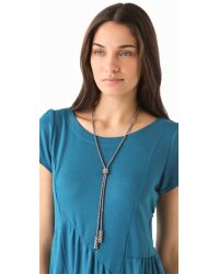 Kenneth Jay Lane - Gray Gunmetal Crystal Lariat Necklace - Lyst