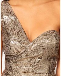 ASOS - One Shoulder Dress in Metallic Jacquard - Lyst