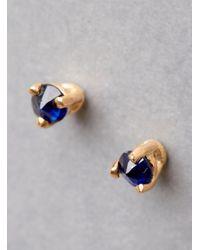 Blanca Monros Gomez - Blue Gold Tiny Sapphire Stud Earring - Lyst