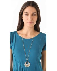 Kenneth Jay Lane - Metallic Filigree Crystal Pendant Necklace - Lyst
