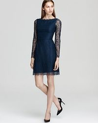 Shoshanna | Blue Minka Long Sleeve Lace Dress | Lyst
