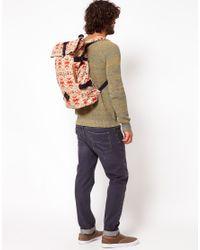 ASOS Brown Asos Aztec Print Roll Top Backpack for men