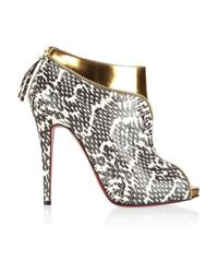 Christian Louboutin | Metallic Leather and Water Snake Ankle Boots | Lyst