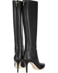 Jimmy Choo | Black Grand Texturedleather Knee Boots | Lyst