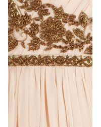 Marchesa | Pink Embellished Silkchiffon Strapless Gown | Lyst