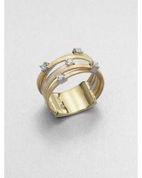 Marco Bicego | Metallic Goa Diamond, 18k White, Rose & Yellow Gold Five-strand Ring | Lyst