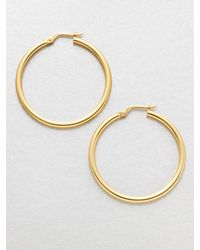 Roberto Coin | Metallic 18k Yellow Gold Hoop Earrings/1.4 | Lyst