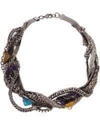 Fenton - Metallic Gunmetal Thick Twisted Necklace - Lyst